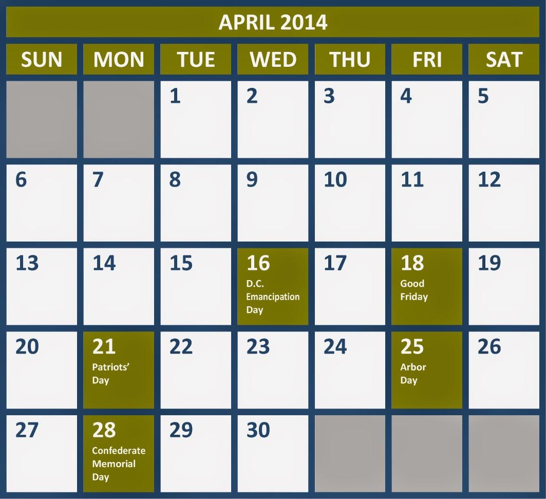 April 2014 Calendar with Holidays