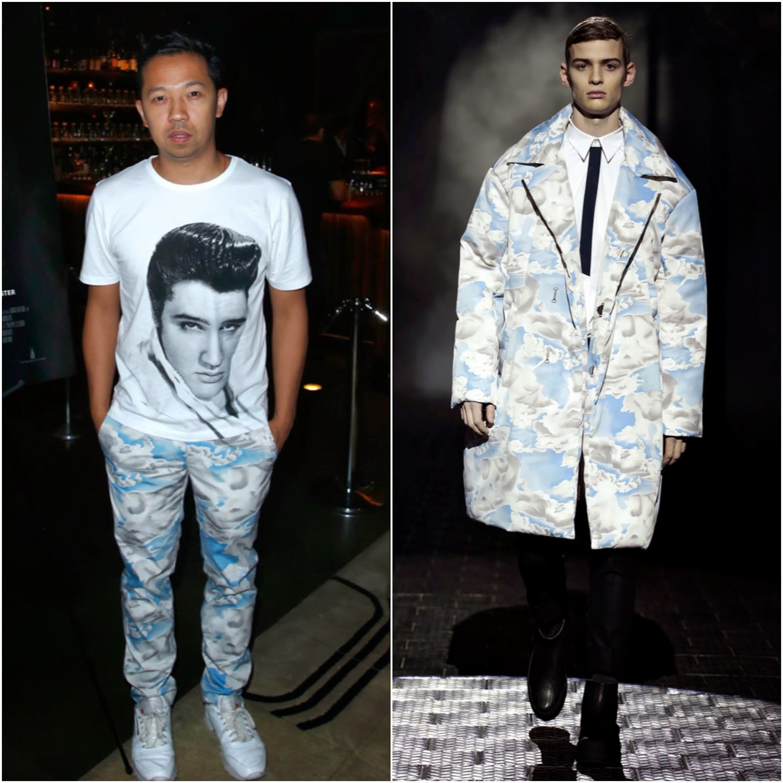 00O00 Menswear Blog: Humberto Leon's Kenzo cloud print trousers, The Grand Master Premiere, New York
