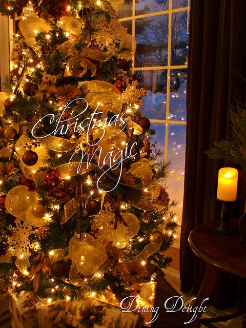 Dining delight rustic glam gold brown christmas tree Brown and gold christmas tree