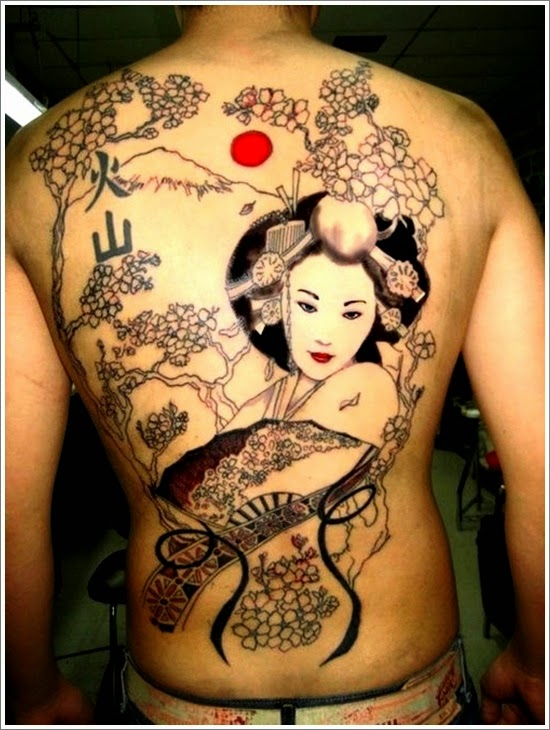 Cool Geisha Tattoo on Body Back