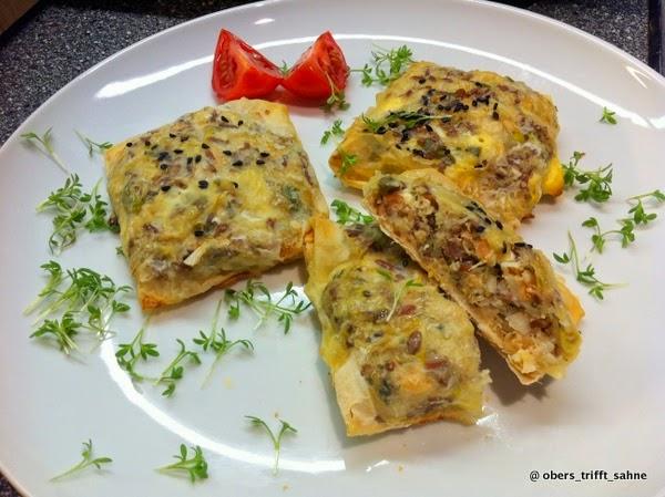 Fisch, leicht asiatisch in Filoteig, Fingerfood