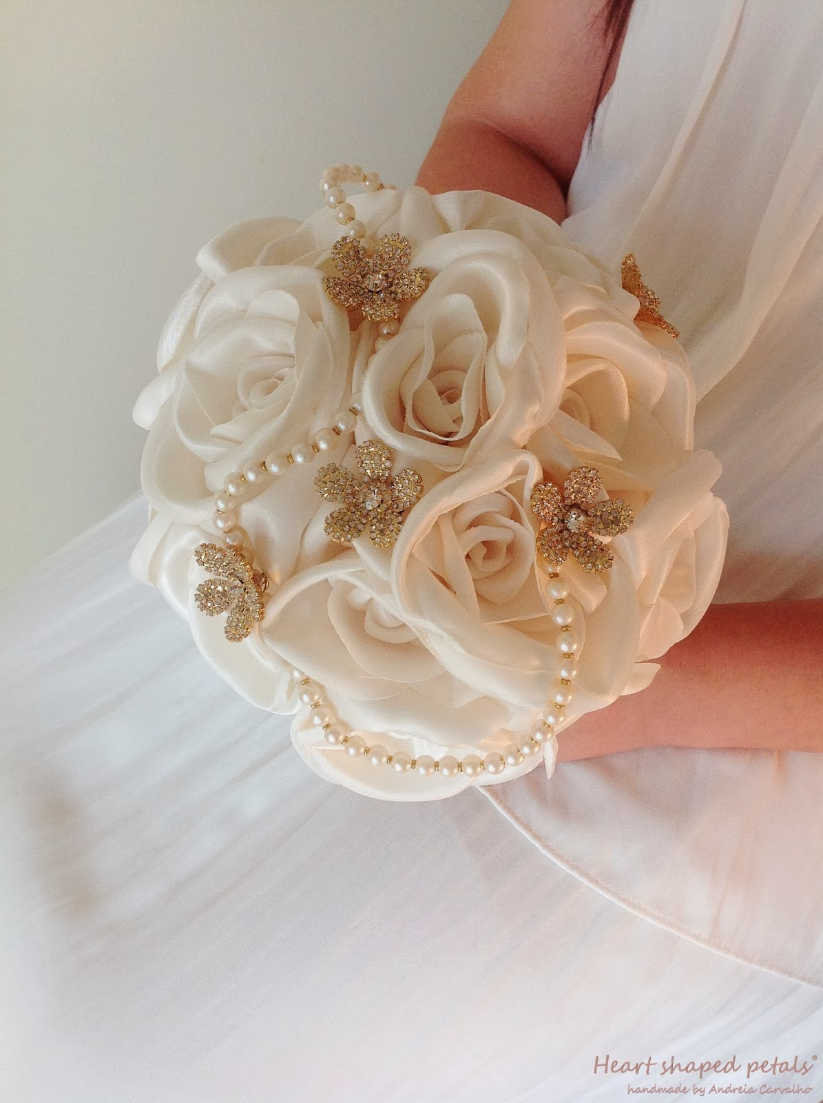 Ivory bridal bouquet fabric flowers