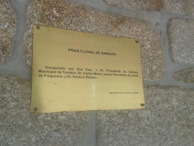 Placa Inauguração Praia Fluvial de Nandufe