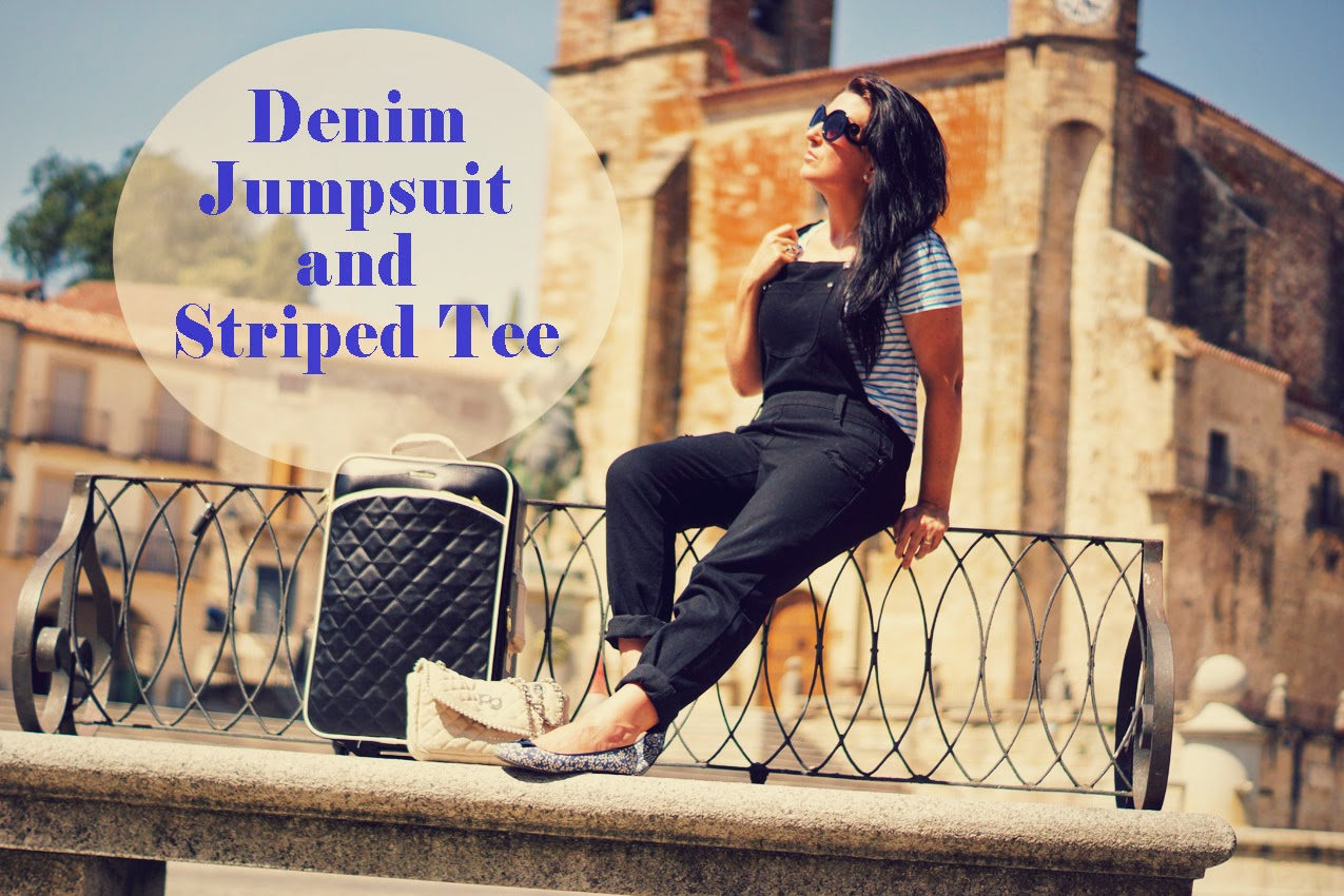 denim+jumpsuit+and+striped+tee