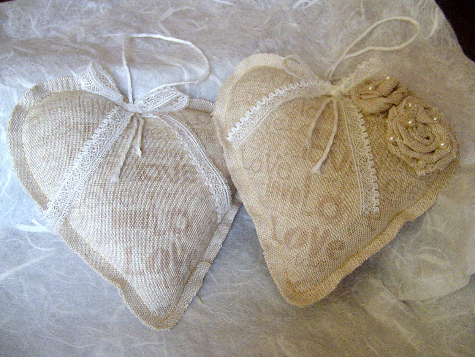 bb shabby liguria : ... Handmade: CUORI IN LINO E PIZZO VINTAGE PER UN MATRIMONIO SHABBY