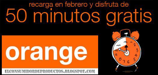 Promocion recarga prepago Orange en febrero y consigue 50 minutos gratis