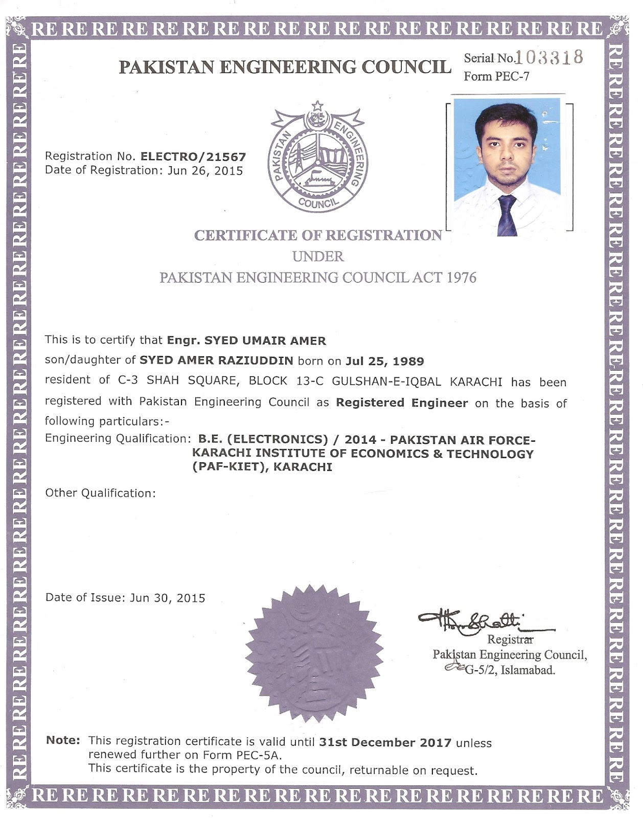 Syed umair amer certificates my certifications certificate of registration from pakistan engineering council xflitez Gallery