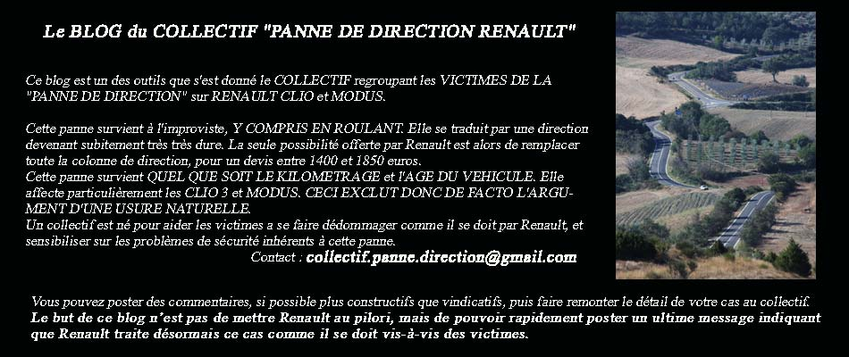 le blog du collectif panne de direction renault panne de direction renault echangez ici vos. Black Bedroom Furniture Sets. Home Design Ideas
