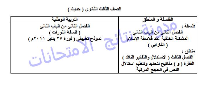 الأجزاء المحذوفة من المقررات الدراسيه مادة الفلسفة والمنطق 2014 الترم الثانى