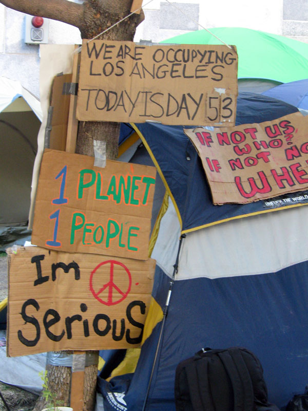 Occupy Los Angeles - sign We Are Occupying Los Angeles, Today is Day 53