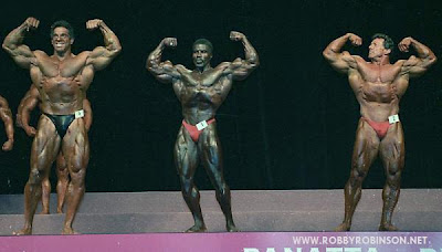 Lou Ferrigno, Robby Robinson and Boyer Coe pose down at Mr Olympia Masters, Atlanta GA 1994,   where Robby Robinson became The first ever Mr Olympia Masters BUILT- Instructional Double DVD - Robby's philosophy on bodybuilding,  training and healthy lifestyle, and his old-school workout approach  ▶ www.robbyrobinson.net/dvd_built.php
