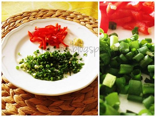 kırmızı biber, sarımsak, yeşil soğan