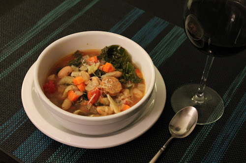 Sausage, kale and white bean soup
