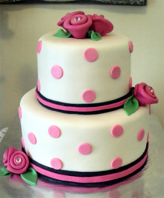 Cake Designs With Polka Dots : Delana s Cakes: Polka Dots & Roses Cake