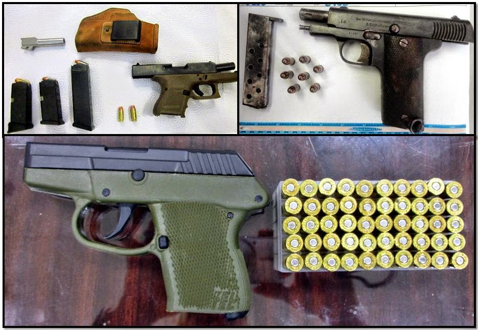 Firearms Discovered at (L-R / T-B) OMA, HOU & GPT