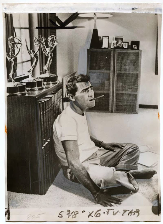 Rod Serling relaxing at home. 1959.