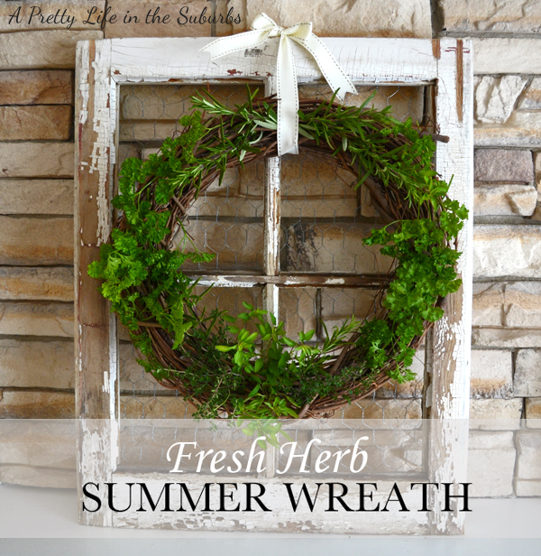 Fresh Herb Summer Wreath on old window