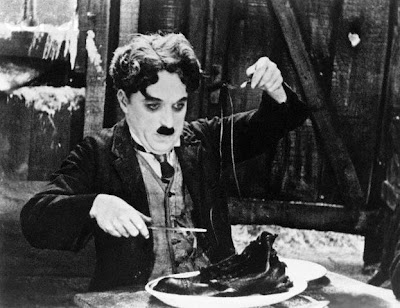 Charlie Chaplin in a scene from the film The Gold Rush (1925).