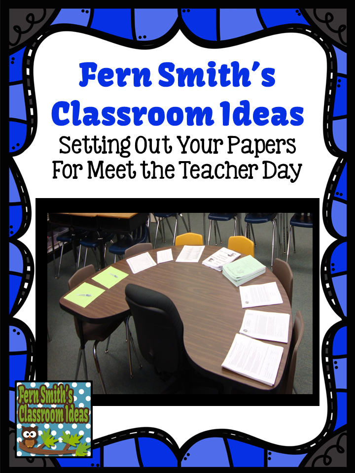 Fern SMith's Classroom Ideas Bright Ideas Blog Hop: Organizing Important Papers for Meet the Teacher Day