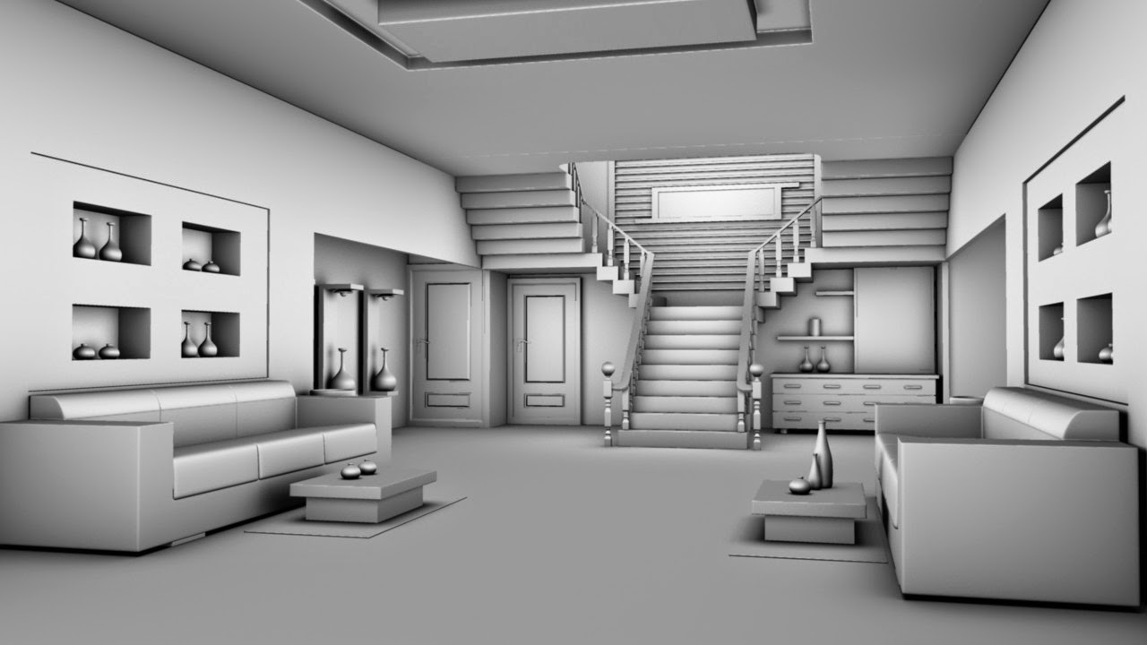 3d modelling home interior design in autodesk maya 2012 for Residence interior design