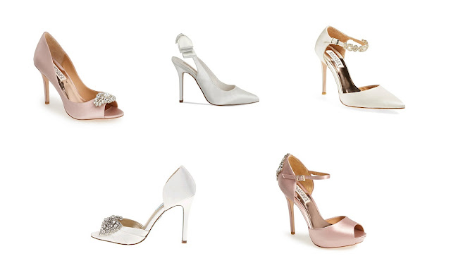 Traditional Bridal Shoe Selection in nude and white