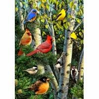birch tree songbirds garden flag