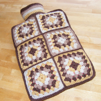 Flip top granny square hot water bottle cover