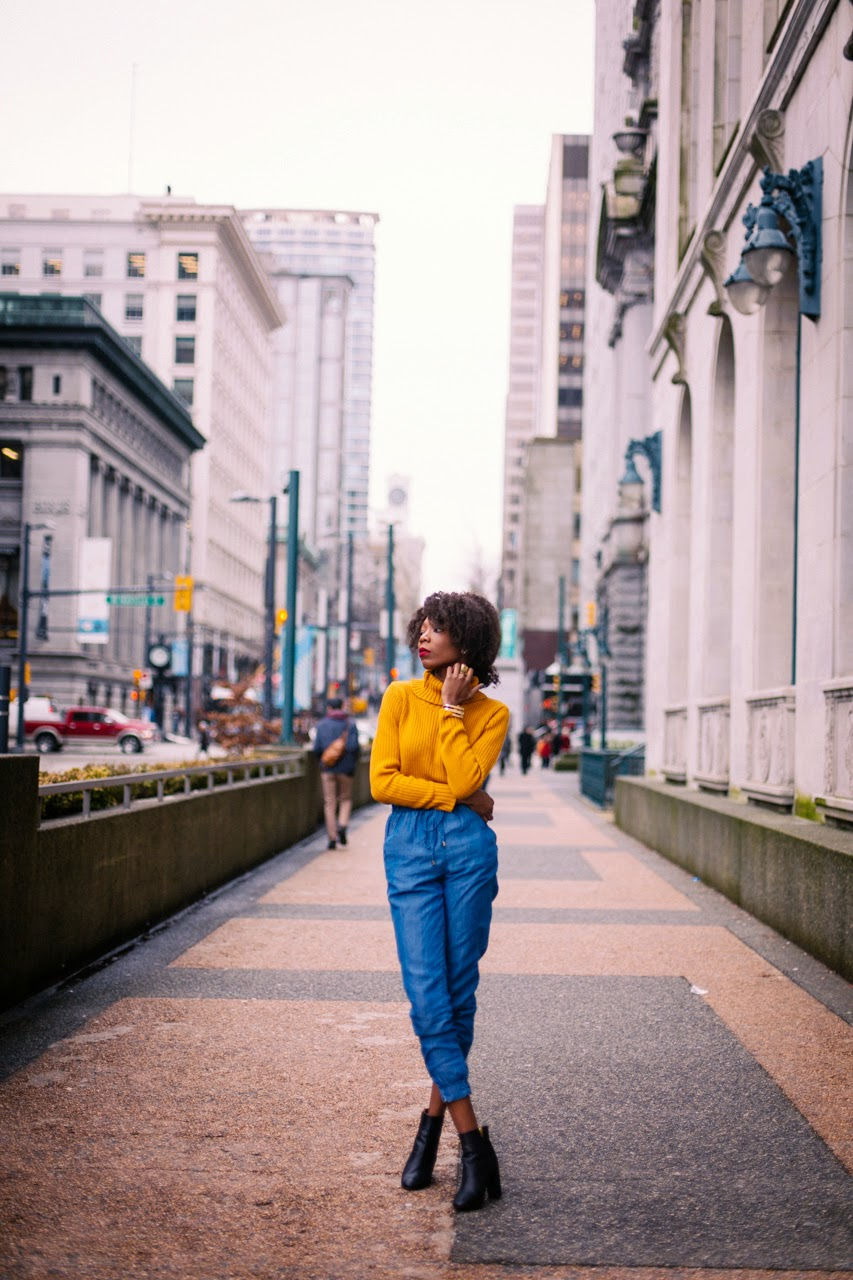 Secrets to Styling Bold Hues || Mustard jumper, Leather boots