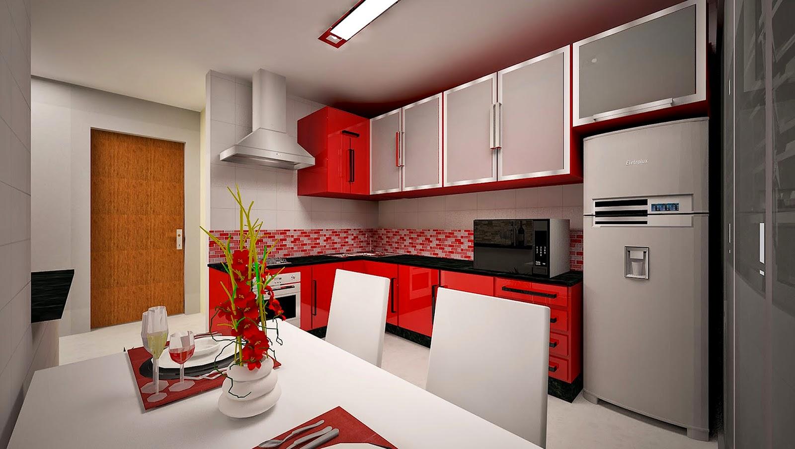 Projetos de Interiores e Maquetes 3D: Projeto cozinha em três #B91612 1600 905