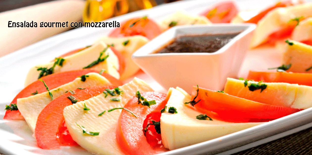 Ensalada gourmet con mozzarella recetas f ciles - Ensaladas gourmet faciles ...