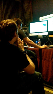 Eric Knight in the studio during final mixing on Katie Scarlett track Forever And A Day