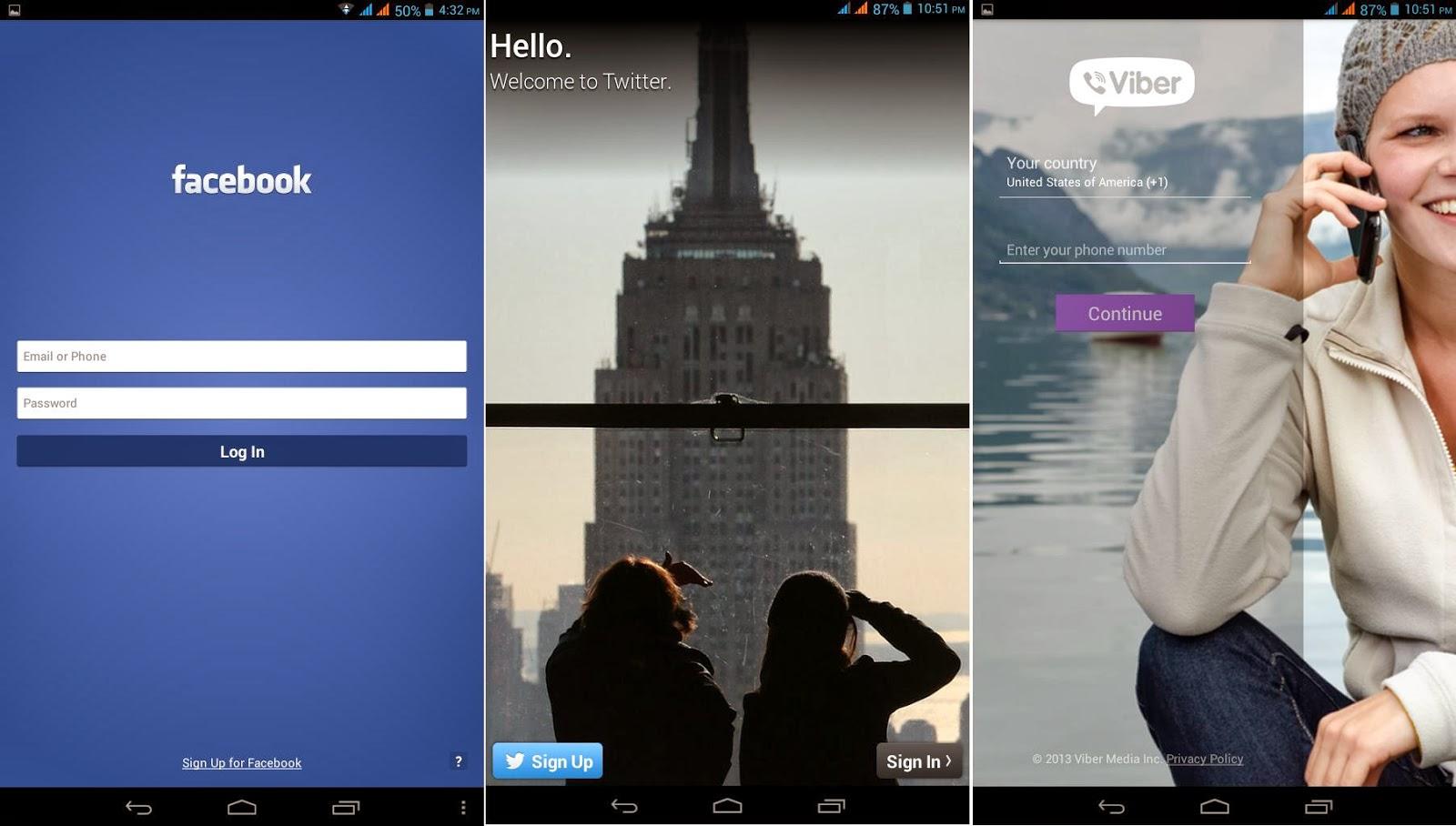 Facebook, Twitter & Viber
