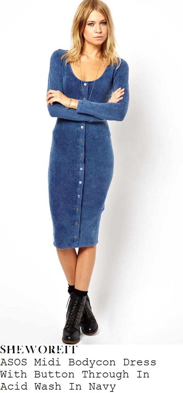 jennifer-metcalfe-blue-button-up-bodycon-midi-dress