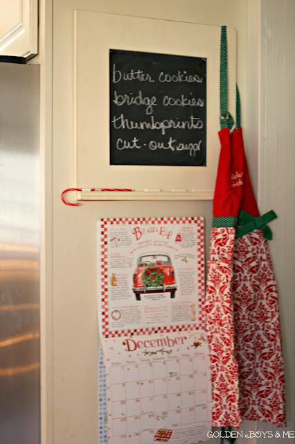 Susan Branch calendar December with Christmas apron and chalkboard cookie list-www.goldenboysandme.com