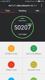 Xiaomi Redmi Note 3 - hasil atau skor Antutu Benchmark - mode Performance