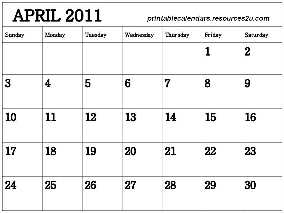 blank calendar 2011 australia. Blank Calendar 2011 April