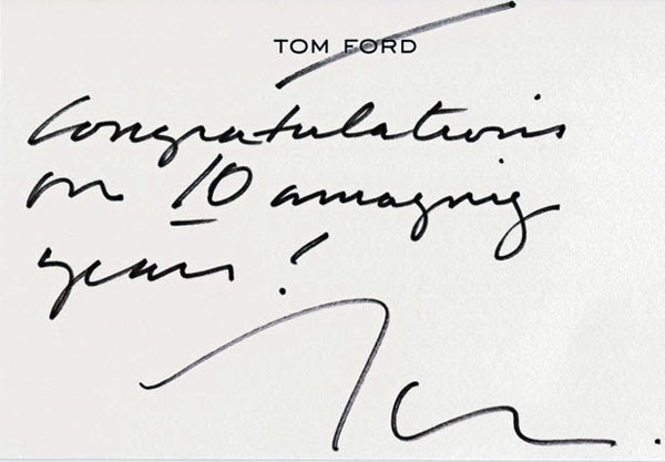 Tom Ford Handwritten Note