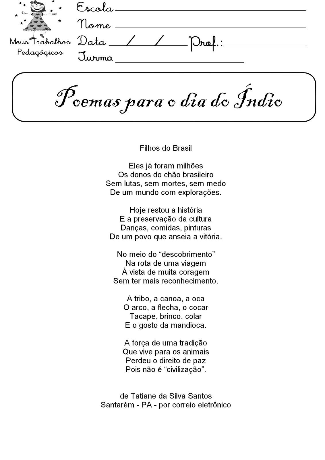 Poema para o dia do índio