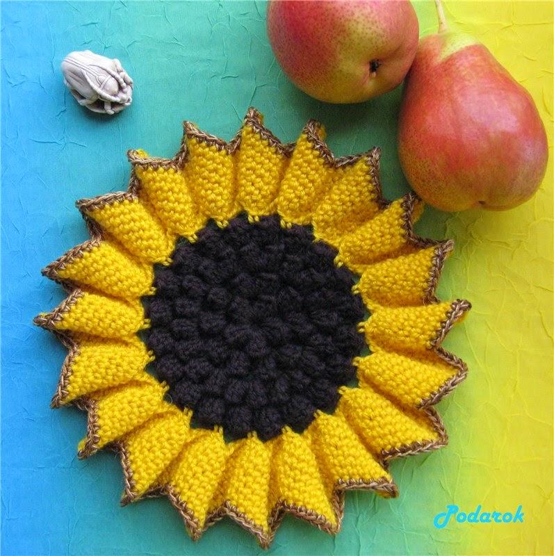 Patrón de agarradera al crochet con forma de girasol