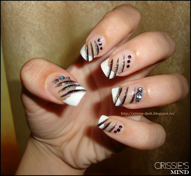 French Nail Art With Stripes and Rhinestones