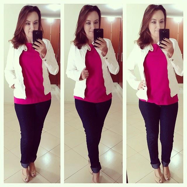 fast fashion, como usar, inspiração de looks, blog camila andrade, blog de moda em ribeirão preto, fashion blogger, jaqueta branca, blusa pink, calça jeans escura, peep toe, como combinar