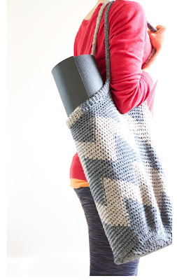 free crochet pattern chevron yoga bag