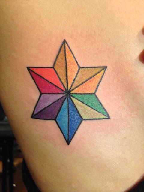 Tatuagem Estrela Colorida - Tattoo Star Colorful