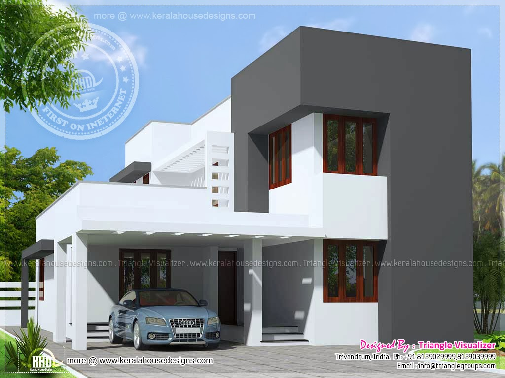 Small budget modern house in 1600 sq feet kerala home for New small home designs in india