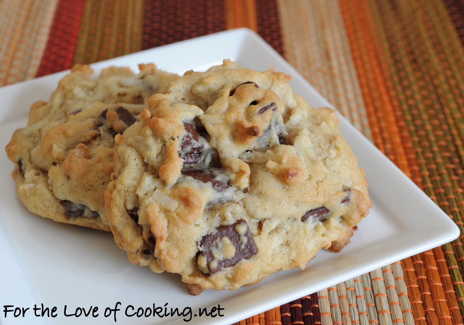 Coconut, Chocolate Chunk, and Walnut Cookies | For the Love of Cooking