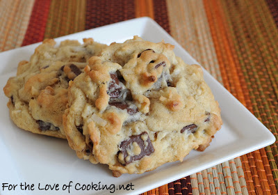 Coconut, Chocolate Chunk, and Walnut Cookies