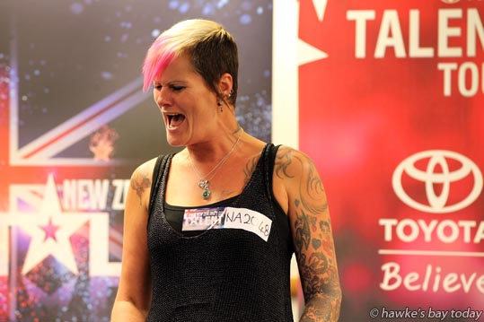 Jo Jordan, Te Pohue - auditions for TV's New Zealand's Got Talent, at the Napier War Memorial Conference Centre, Napier photograph
