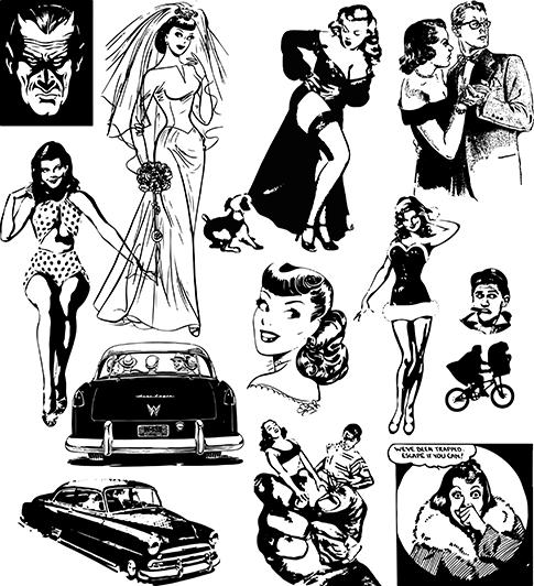 Comics de los años 50 en vector