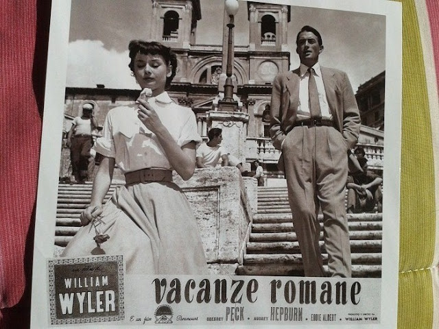 "Postcard of ""Roman Holiday"" showing Audrey Hepburn and Gregory Peck"