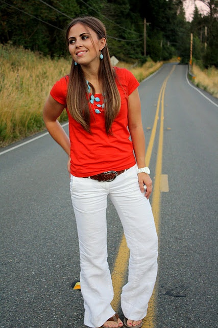 White jeans and bright red shirt, new summer casual for ladies